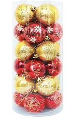 Luxury Shatterproof 24 Red Gold baubles Christmas Tree 60mm Decorations Ornament