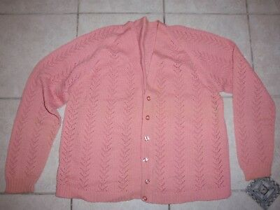 Vintage Ladies Pink Knitted Cardigan Long Sleeves Button Front 108Cm Underarm