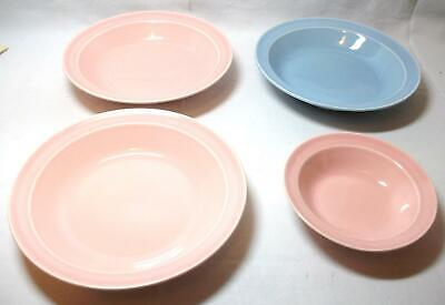 Vintage LuRay Pastel TST Taylor Smith Taylor 3 Rimmed Soup Bowls & 1 Sauce Bowl