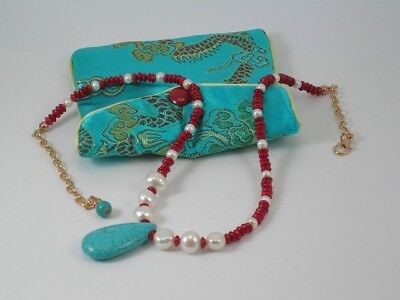 Turquoise, Coral & Freshwater Pearls Necklace