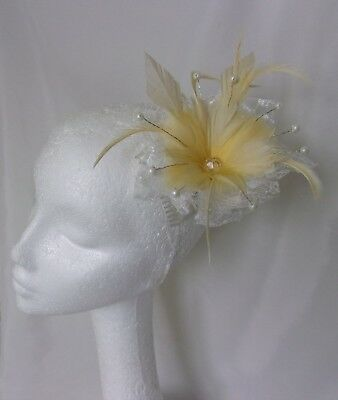 Primrose Yellow & Ivory Feather Flower & Lace Fascinator Comb Wedding Accessory