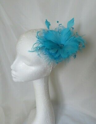 Turquoise Blue Feather Flower & Lace Fascinator Hair Comb Wedding Accessory NEW