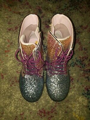 97d54c7de Kids Sam Edelman Girls Polly Sophia Ankle Zipper Rainbow Ombre Glitter sz 3