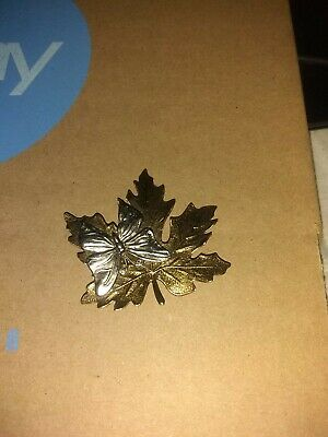 Maple Leaf And Butterfly Pin Unknown Brand And Metal  2 Inches X 2 Inches