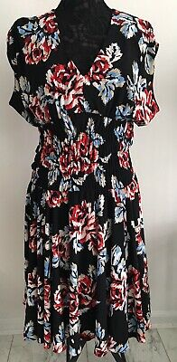 ce8dc9aa8d1 Nine West Floral Dress 14 Pretty Shirred Waist Black Red Blue 🌹 V Neck  🌹EUC