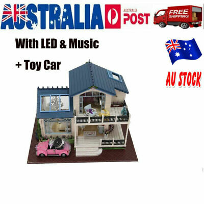 DIY Wooden Toy Doll House Miniature Kit Dollhouse Furniture LED Gifts Chose