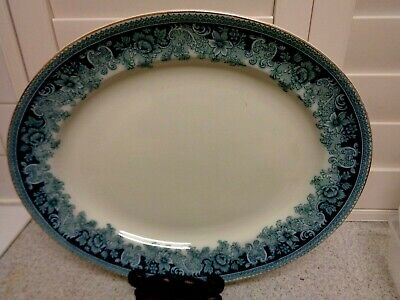 Victorian Blue & White LARGE SERVING MEAT Plate ENGLISH STAMP 16""