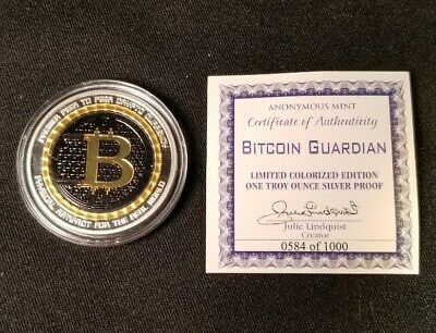 Anonymous Mint Bitcoin Guardian 1 Oz Pure Silver Proof Colorized Round Coin 999