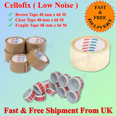 "Cellofix Low Noise Packing Parcel Tape Brown Clear  Tape 48Mm2""x66M Cheap"