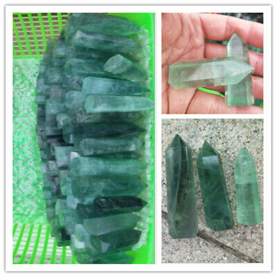 Crystal Natural Green Fluorite Quartz Prism Wand Point Specimen Healing 1pc