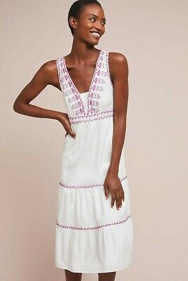 3e8f463e3b05 New Anthropologie Akemi + Kin Selena Embroidered Swing Dress White/Lilac  Size 10