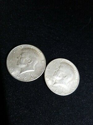 Set (lot) of two (2) 90% Silver John F. Kennedy Half Dollars Coins 1964 D