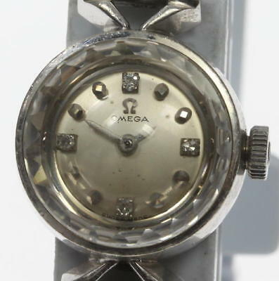 Omega cal.484 antique cut glass K14WG 4P hand wound ladies watch used vintage
