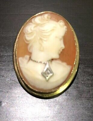 Vintage Cameo Carved Shell Diamond Pendant/Brooch 14K Gold Esemco, Italy