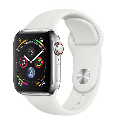 Apple Watch Series 4 44 mm Stainless Steel Case, White Sport Band, GPS+Cellular
