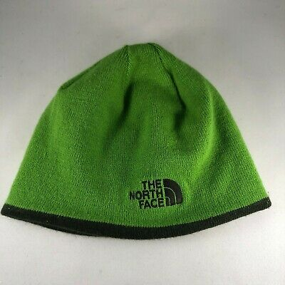 Green Reversible Logo The North Face Beanie Hat Cap Knit Winter Hat
