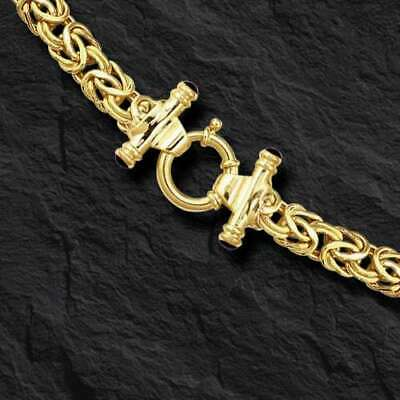 """14kt 18"""" Yellow Gold 8mm Byzantine Fancy Necklace with Spring Ring Clasp  20 GR"""