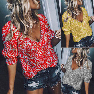 Fashion Women Floral Tops T-Shirt Summer 1/2 Sleeve V-Neck Shirts Casual Blouse