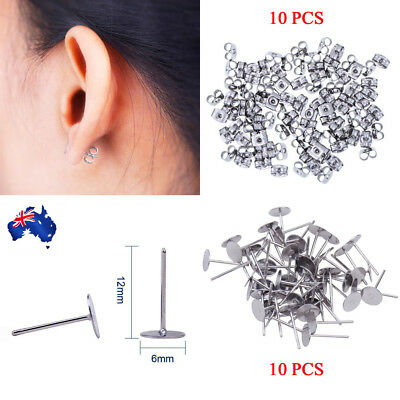 20pcs Earring Stud Posts 6mm Pads and backs Hypoallergenic Surgical Steel AU