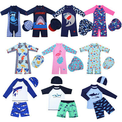 Girls Boys Sun Protective Swimsuit Swimwear Surfing Costume+Swim Cap Beach Wear