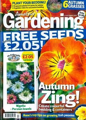 AMATEUR GARDENING MAGAZINE ISSUE 15th SEPTEMBER 2018 WITH FREE SEEDS ~ NEW ~