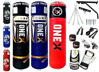 New 3ft 4ft 5ft  Heavy Filled Boxing Punch Bag Kit Set Boxed Pack MMA Kick Pad