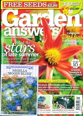 GARDEN ANSWERS MAGAZINE ISSUE SEPTEMBER 2018 WITH 4 x PACKS OF SEEDS ~ NEW ~
