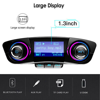 Car FM Transmitter Wireless Bluetooth Handsfree Kit MP3 Player USB Charger AUX