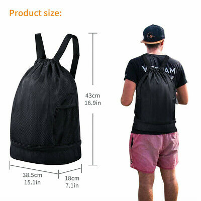 Drawstring Bag Backpack Waterproof Gym Bags With Pockets Sports Cinch Sack