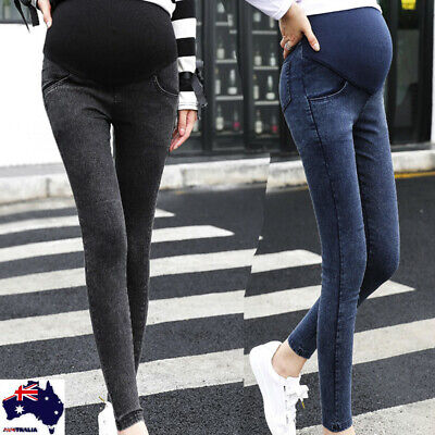 Maternity Pregnancy Skinny Trousers Jeans Women Over The Pants Elastic AU
