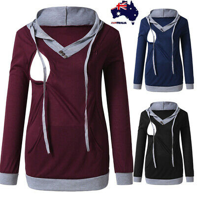 Womens Ladies Maternity Nursing Fashion Hoodie Sweatshirt Kangaroo Pocket AU