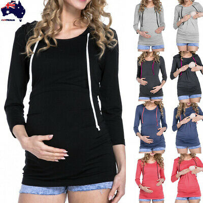 Women Lady Maternity Nursing Tops Long Sleeve Pregnant Hooded Blouse Clothing AU
