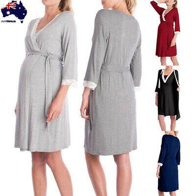 Womens Mother Lace Pregnant Long Sleeve Nursing Baby For Maternity Pajamas Dress