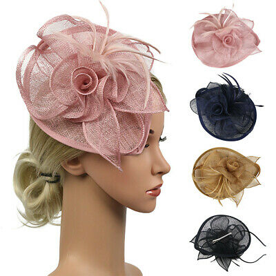 Feather Fascinators Womens Flower Derby Hat for Cocktail Ball Wedding Church L