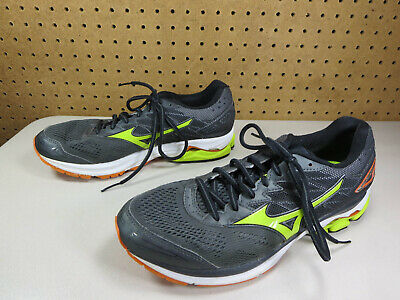 info for eb28d d5a43 Mizuno mens black orange lime Wave Rider 20 running shoes 9 M VGUC