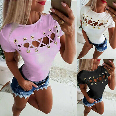 Ladies Short Sleeve Tops Shirt Sexy Hollow Out Summer Casual Blouse T-shirts Tee