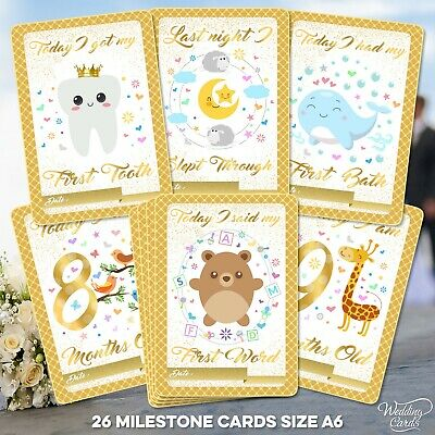 Baby Milestone Cards 1st Year Memorable Moments Boy Girl Unisex Age Son Daughter