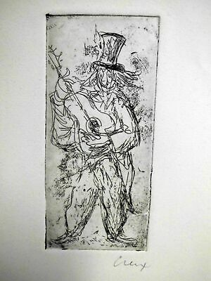 hübsche Tuschezeichnung-Musikant-signiert-ORIGINAL-lovely ink drawing-signed