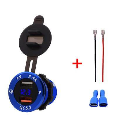 Dual USB Power Outlet QC3.0 / 5V 2.4A Phone Charger for Motorcycle Car Boat Blue