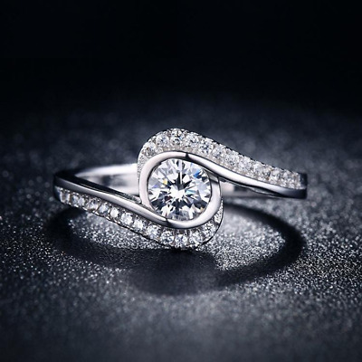 2Ct Round Cut Diamond Swirl Twist Solitaire Engagement Ring Solid 14K White Gold