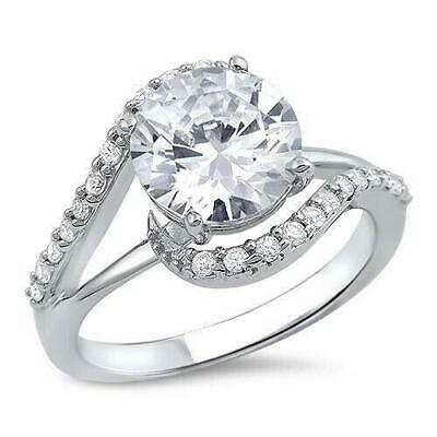 3Ct Round Cut Diamond Swirl Twist Solitaire Engagement Ring Solid 14K White Gold
