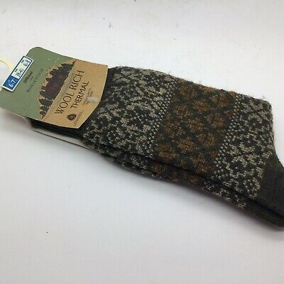 Vintage Funky wool thermal Patterned Mens  Socks M&S St Michael 6 1/2 - 8 new