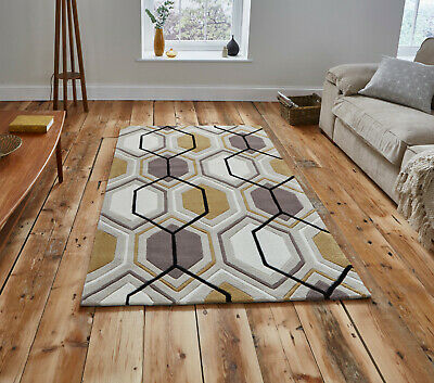Hong Kong Geometric Hexagon Pattern Rug 120 x 170cm Beige Yellow CLEARANCE