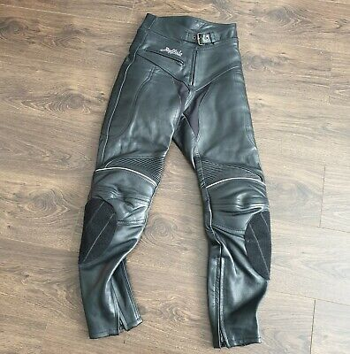 """BUFFALO Ladies Leather Motorcycle Trousers Jeans Size UK 6 or 24"""" Waist"""