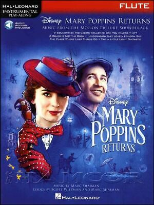 Mary Poppins Returns for Flute Sheet Music Book/Audio Disney SAME DAY DISPATCH