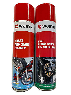 **Wurth Motorbike Brake And Chain Cleaner High Performance Dry Chain Lube Kit**