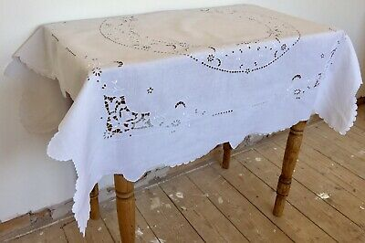 Vintage Stunning Hand Embroidered Cut Work White Linen Tablecloth