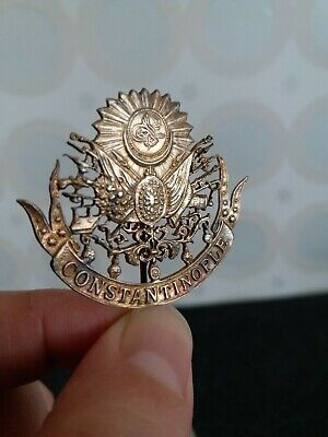 Turkish Ottoman Turkey Silver Brooch Pin Empire Coat of Arm with Enamel RARE