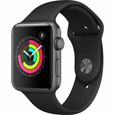 Apple Watch Gen 3 Series 3 38mm Space Gray Aluminum Black Sport Band with box