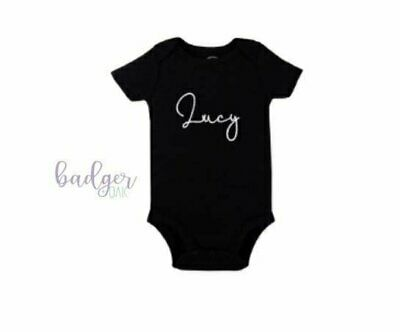 Personalised baby bodysuit - Black personalised Baby bodysuit - Baby bodysuit...